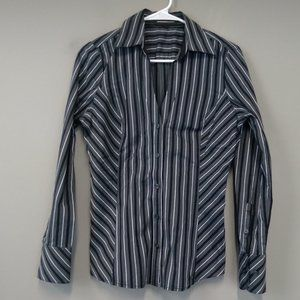 Express Stripe Fitted Button Up V Neck Top Size M